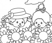 Coloriage Enfants et Champs Disney