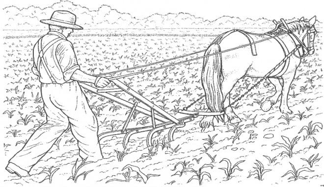 Coloriage fermier laboure la terre dessin gratuit imprimer - Labourer la terre ...