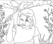 Coloriage et dessins gratuit Une Jeune fille dans le Champs à imprimer