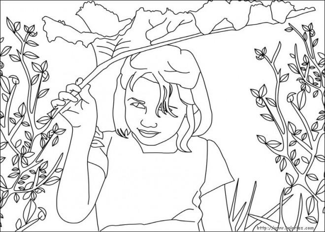 Coloriage et dessins gratuits Une Jeune fille dans le Champs à imprimer