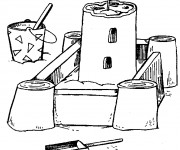 Coloriage et dessins gratuit Château de Sable à découper à imprimer