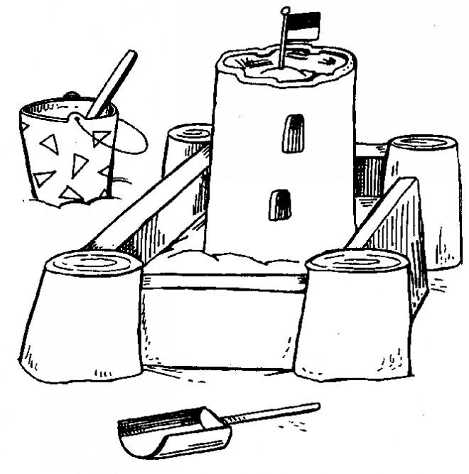 Coloriage et dessins gratuits Château de Sable à découper à imprimer