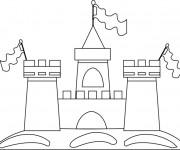 Coloriage et dessins gratuit Château de Sable avec Les Drapeaux à imprimer