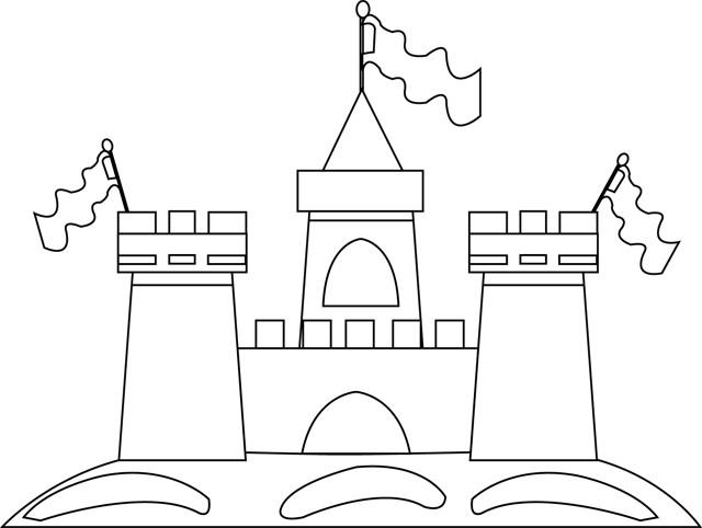 Coloriage et dessins gratuits Château de Sable avec Les Drapeaux à imprimer