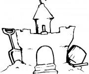 Coloriage et dessins gratuit Château de Sable bien fait à imprimer