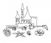 Coloriage et dessins gratuit Château de Sable Coquillages à imprimer