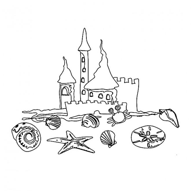 Coloriage et dessins gratuits Château de Sable Coquillages à imprimer