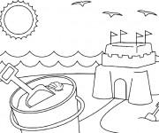 Coloriage et dessins gratuit Château de Sable en été à imprimer