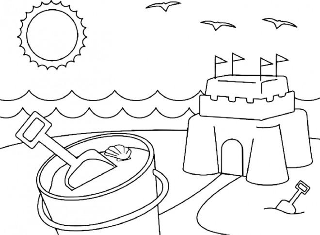 Coloriage et dessins gratuits Château de Sable en été à imprimer