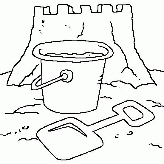Coloriage et dessins gratuits Château de Sable et Le Seau à imprimer
