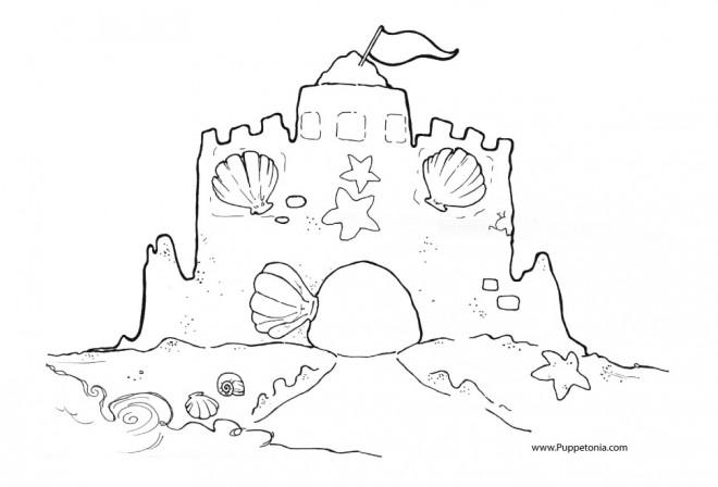 Coloriage et dessins gratuits Château de Sable pour décoration à imprimer