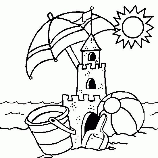 Coloriage et dessins gratuits Château de Sable sous le soleil à imprimer