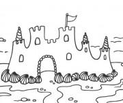 Coloriage et dessins gratuit Château de Sable sur la Plage à imprimer