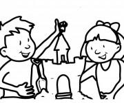 Coloriage et dessins gratuit Fille et garçon décorent leur Château de Sable à imprimer