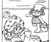Coloriage et dessins gratuit Petites filles et leur Château de Sable à imprimer