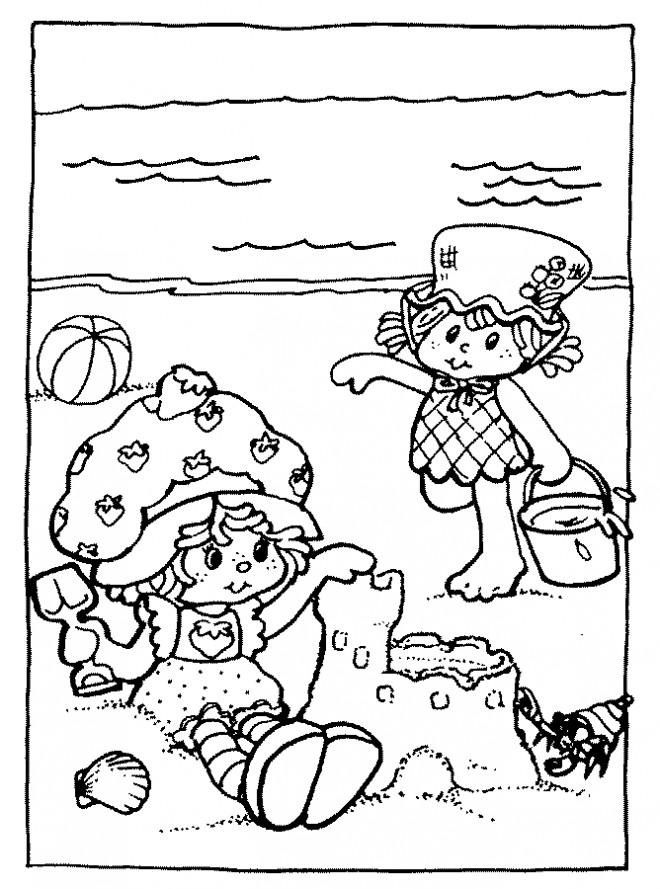 Coloriage et dessins gratuits Petites filles et leur Château de Sable à imprimer