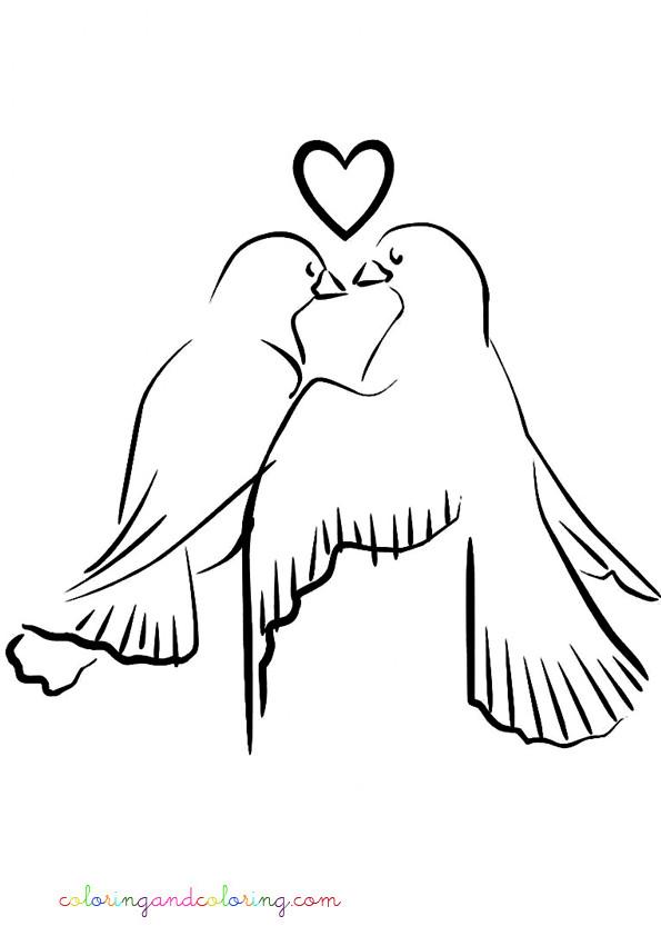 Coloriage colombe amoureux vecteur dessin gratuit imprimer - Coloriage colombe ...