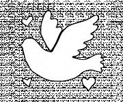 Coloriage Colombe avec des Coeurs d'amour