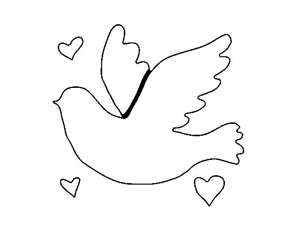 Moldes De Palomas Para Imprimir: Coloriage Colombe Avec Des Coeurs D'amour Dessin Gratuit à