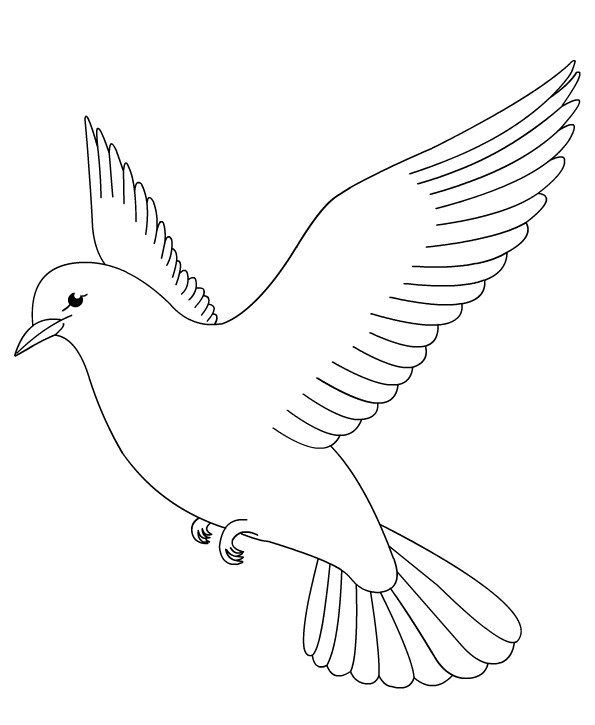 Coloriage et dessins gratuits Colombe dans le ciel maternelle à imprimer