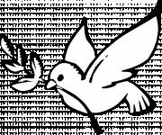 Coloriage et dessins gratuit Colombe de La paix en noir à imprimer