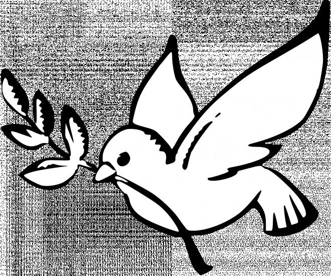 Coloriage colombe de la paix en noir dessin gratuit imprimer - Dessin de colombe a imprimer ...