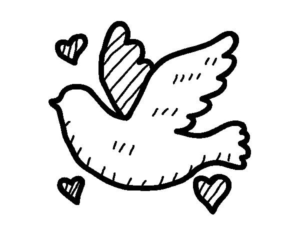 Coloriage colombe de mariage dessin gratuit imprimer - Dessin colombe gratuit ...