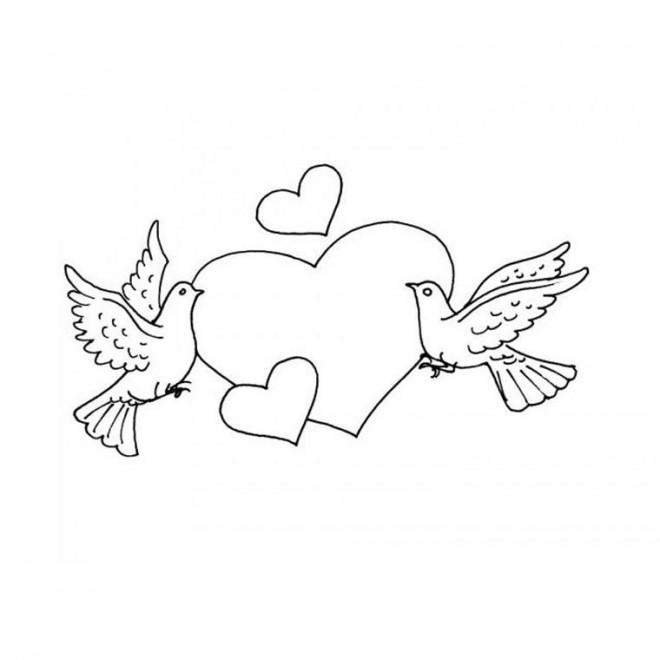 Coloriage Colombe et Amour dessin gratuit à imprimer