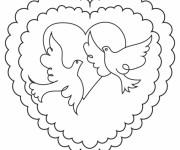 Coloriage Colombe et Coeur de mariage stylisé