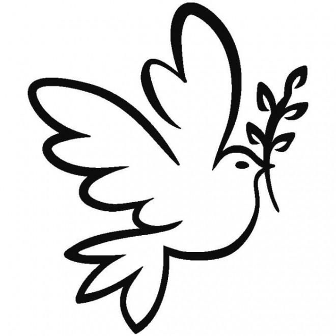 Coloriage colombe et rameau d 39 olivier dessin gratuit imprimer - Colombe a colorier ...