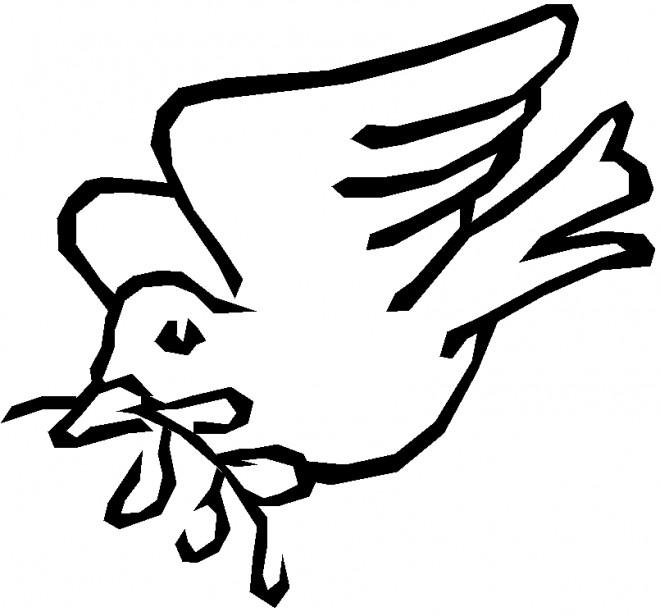 Coloriage colombe et rameau d 39 olivier en noir et blanc - Dessin colombe gratuit ...