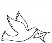 Coloriage Colombe portant un coeur en volant
