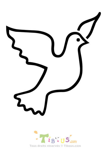 Coloriage colombe simple dessin gratuit imprimer - Colombe coloriage ...