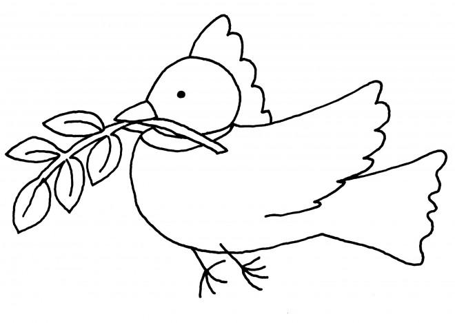 Coloriage colombe symbole de paix dessin gratuit imprimer - Coloriage colombe ...