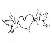 Coloriage Des Colombes qui portent un Coeur