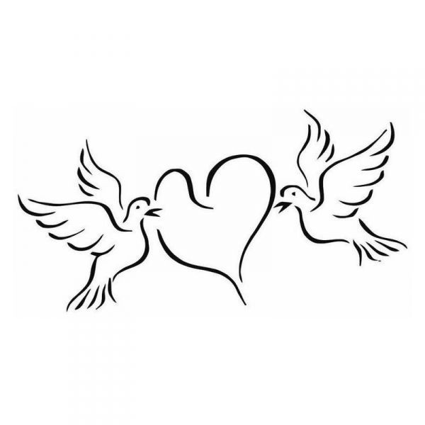 Coloriage des colombes qui portent un coeur dessin gratuit - Coloriage colombe ...