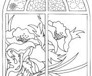 Coloriage Coquelicot vue de la fenêtre