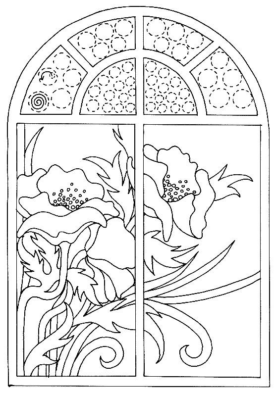 Coloriage Coquelicot vue de la fenêtre dessin gratuit à ...