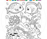Coloriage Corail et Poissons