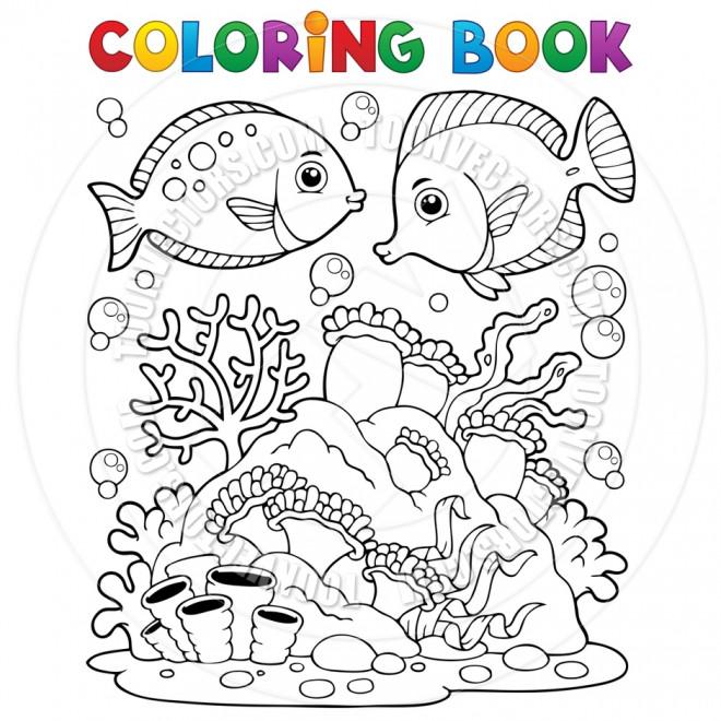 Coloriage Corail Et Poissons Dessin Gratuit A Imprimer