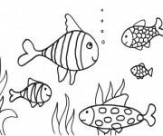 Coloriage et dessins gratuit Corail et Poissons aimables à imprimer