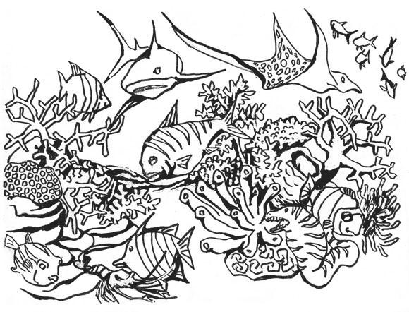 Coloriage Corail Poissons De Mer En Vecteur Dessin Gratuit A Imprimer