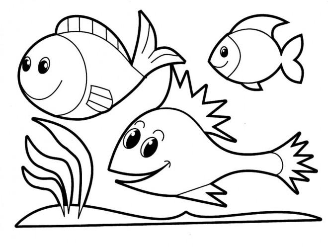 Coloriage et dessins gratuits Heureux Poissons nagent sur Corail à imprimer