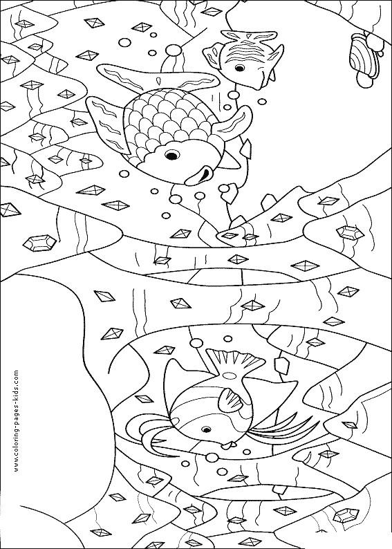 Coloriage et dessins gratuits Poissons et Corail au crayon rouge à imprimer