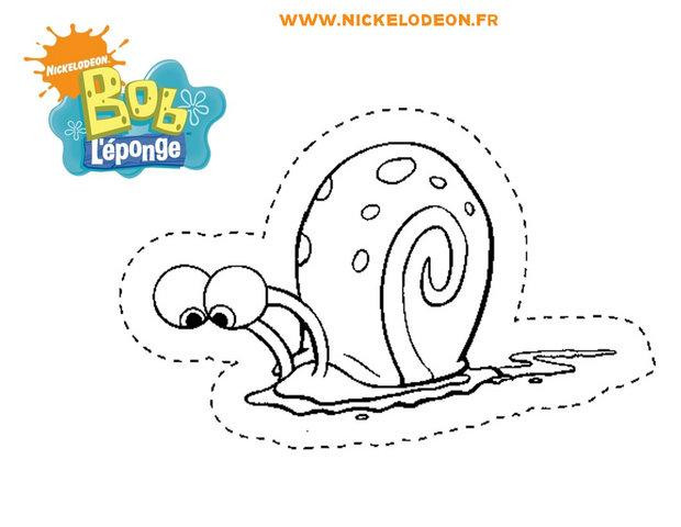 Coloriage Escargot De Bob L Eponge Dessin Gratuit A Imprimer