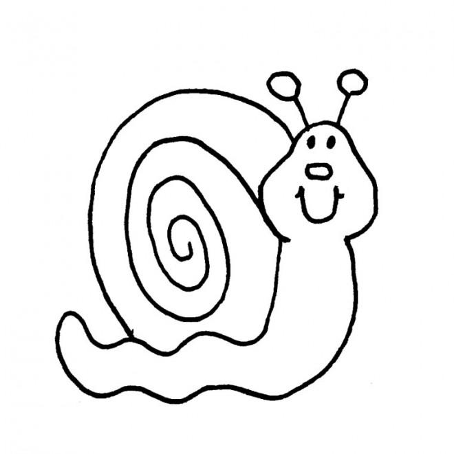 Coloriage et dessins gratuits Escargot en noir à imprimer