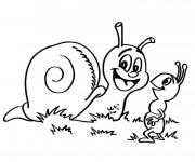 Coloriage Escargot en plein air