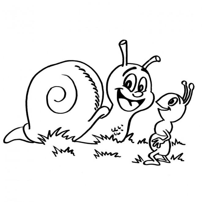 Coloriage et dessins gratuits Escargot en plein air à imprimer