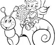 Coloriage Escargot et la petite fille