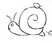Coloriage Escargot facile en hiver